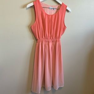 Kim Rodgers Ombré Coral Sleeveless Dress Petite M